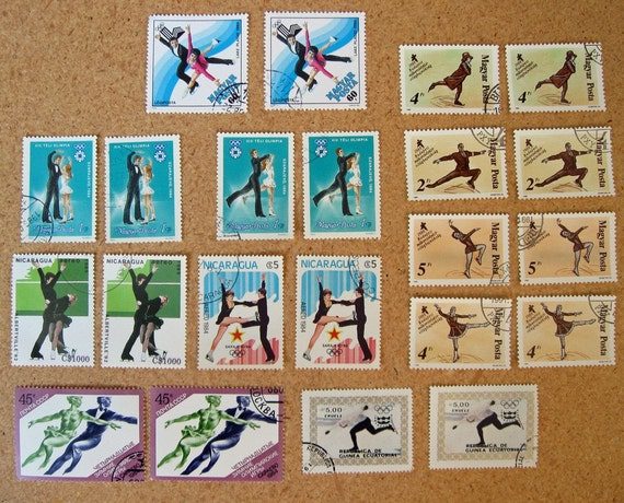 22 Ice SKATING Postage Stamps circa 1976-1989, 2 each of 11 different designs - STAMP SPECIAL: Any 3 sets for 15 Dollars