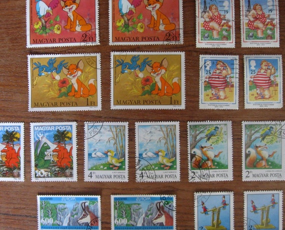 CARTOONS and Animation, 18 Postage Stamps 1982 -1999, 2 each of 9 different designs - STAMP SPECIAL: Any 3 sets for 15 Dollars