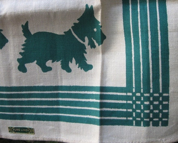 Vintage Towel - Green Scotty Dogs - Pure Linen