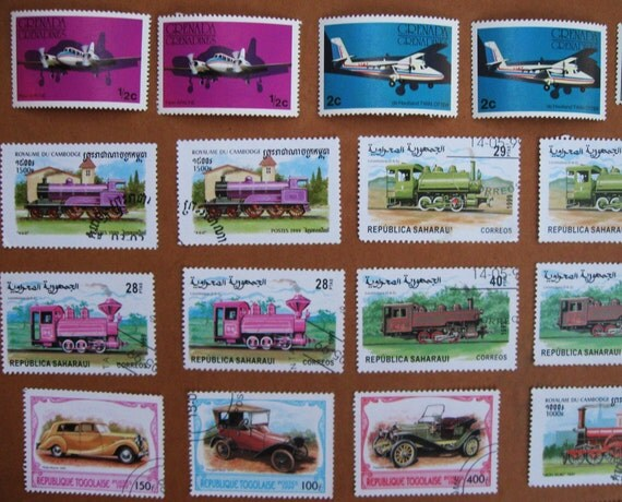 42 Postage Stamps PLANES, Trains and Automobiles, 1978 -1999, 2 each of 21 different designs - STAMP SPECIAL: Any 3 sets for 15 Dollars