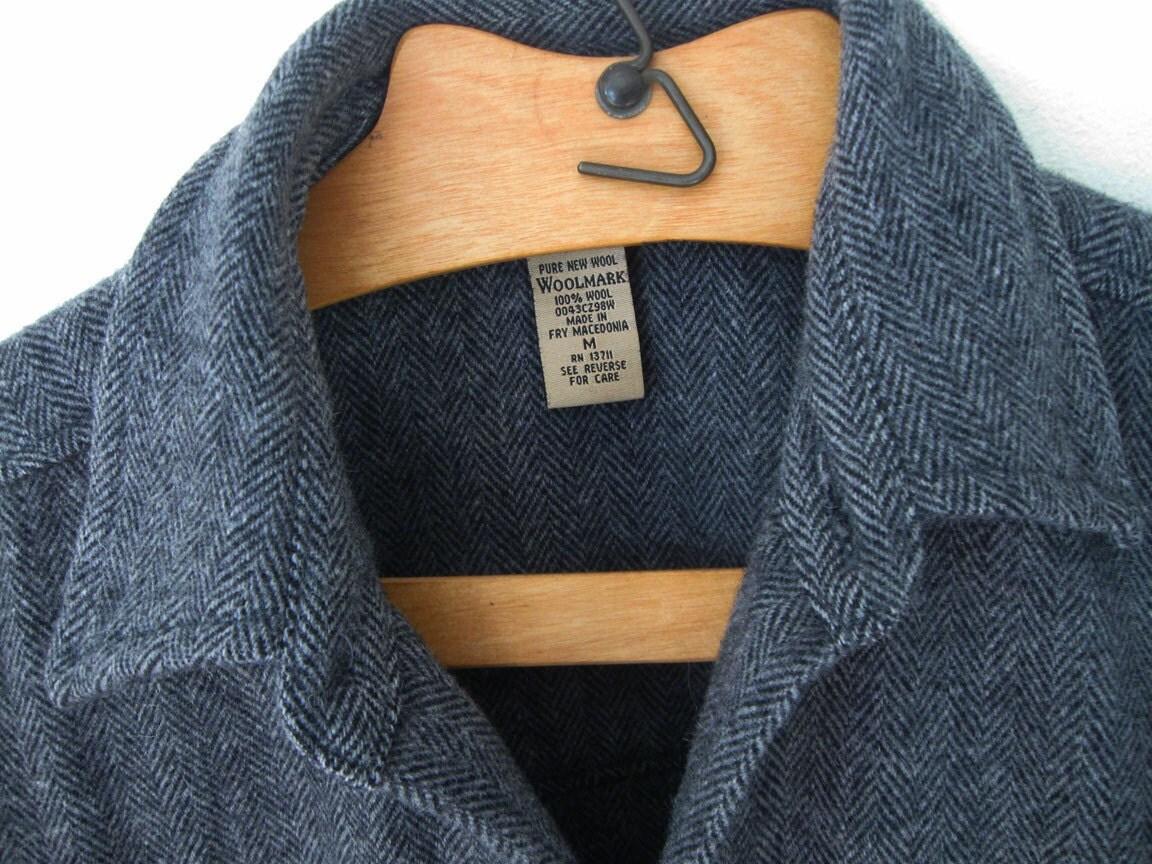 SALE Men&39s Wool Shirt Jacket WoolMark Lord &amp by LeafpeopleVintage