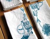 Block Printed Organic Cotton Revolver and Daisy Cloth Napkins