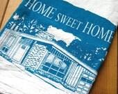 Screen Printed Organic Cotton Home Sweet Home Flour Sack Towel - Soft and Absorbent Tea Towel