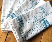 Hand Printed Organic Cotton Cloth Napkins - Eco Friendly Dinner Napkins - Mason Jar Illustration - Housewarming gift