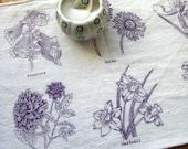Screen Printed Organic Cotton Spring Flowers Flour Sack Tea Towel - Soft and Absorbent Dish Towel