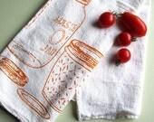 Screen Printed Organic Cotton Mason Jar Flour Sack Towel - Perfect Tea Towel for Dishes