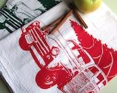 Screen Printed Vintage Station Wagon and Christmas Tree Organic Cotton Flour Sack Tea Towel - Awesome Kitchen Towel