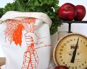 Reusable Produce Bags - Set of 2 - Screen Printed Natural Cotton Produce Bags - Eco Friendly - Carrots - Bulk - Produce - Grocery Bags
