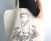 Screen Printed Recycled Cotton Canvas Tote Bag - Eco Friendly Grocery Bag Shopper Tote - Reusable and Washable - Craft Brew Illustration