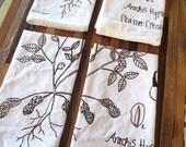 Eco Friendly Dinner Napkins - Screen Printed Organic Cotton Cloth Napkins - Washable and Reusable - Botanical Print - Peanut Illustration