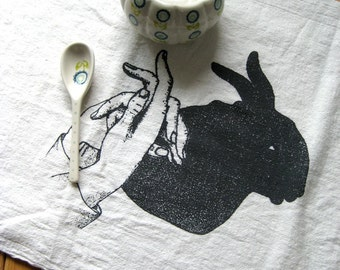 Tea Towel - Screen Printed Flour Sack Towel - Eco Friendly Kitchen Tea Towel - Handmade - Rabbit Shadow Puppet - Dish Towel - Natural Cotton