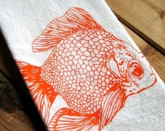 Tea Towel - Screen Printed Flour Sack Towel - Handmade Kitchen Towel - Eco Friendly - Natural Cotton - Classic Flour Sack - Goldfish Towel