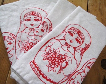 Cloth Napkins - Screen Printed Cloth Napkins - Eco Friendly Dinner Napkins - Nesting Dolls - Handmade Napkins - Table Setting - Cotton Cloth