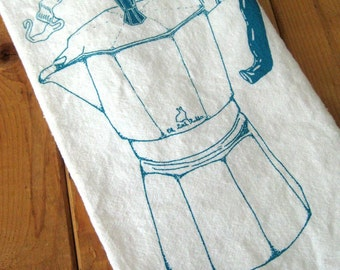 Tea Towel - Screen Printed Flour Sack Towel - Wake Up - Italian Espresso - Coffee - Eco Friendly Cotton Towel - Classic Flour Sack Towel