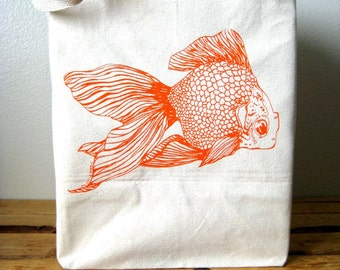 Recycled Cotton Shopper Tote - Grocery Bag - Large Tote Bag - Reusable and Washable Canvas Tote - Goldfish Print - Eco Friendly and Awesome