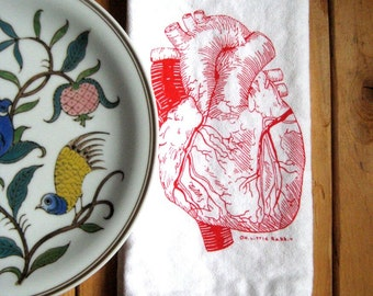 Cloth Napkins - Screen Printed Cloth Napkins - Eco Friendly Dinner Napkins - Handmade - Cotton Napkins - Anatomical Heart - Valentines Day