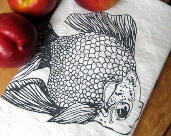 Tea Towel - Screen Printed Flour Sack Towel - Absorbent Dish Towel - Eco Friendly Cotton Towel - Goldfish - Nautical Home Decor - Flour Sack
