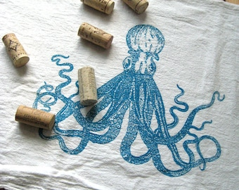 Tea Towel - Screen Printed Flour Sack Towel - Nautical - Octopus - Classic Flour Sack Towel - Eco Friendly Cotton Towel - Kitchen Towel