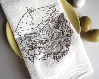 Tea Towel - Screen Printed Flour Sack Towel - Kitchen Towel - Eco Friendly Cotton Towel - Deli Sandwich - Classic Flour Sack Towel
