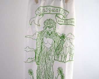 Tea Towel - Screen Printed Flour Sack Towel - Eco Friendly Cotton - Dish Towel - Big Foot - Sasquatch - Kitchen Towel - Classic Flour Sack