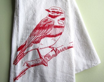 Tea Towel - Screen Printed Flour Sack Towel - Eco Friendly Tea Towel - Woodland Bird - Absorbent Dish Towel - Soft Natural Cotton Towel