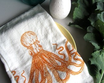 Tea Towel - Screen Printed Flour Sack Towel - All Natural Cotton - Octopus - Nautical - Kitchen Towel - Dish Towel - Handmade - Screenprint