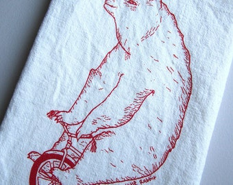 Tea Towel - Screen Printed Flour Sack Towel - Circus Bear Riding a Bike - Eco Friendly Dish Towel - Handmade - Classic Flour Sack Towel