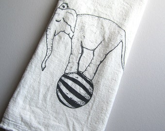 Tea Towel - Screen Printed Flour Sack Towel - Vintage Circus Elephant - Absorbent Dish Towel - Handmade Kitchen Towel - Eco Friendly Cotton
