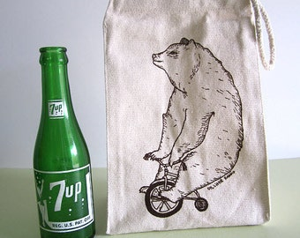 Reusable Lunch Bag - Screen Printed Recycled Cotton Lunch Bag - Eco Friendly Lunch Sack - Circus Side Show - Bear and Bike Lunch Box - Snack