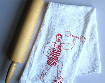 Tea Towel - Screen Printed Flour Sack Towel - Vintage Circus Strong Man - Kitchen Towel - Eco Friendly Cotton towel - Classic Flour Sack -