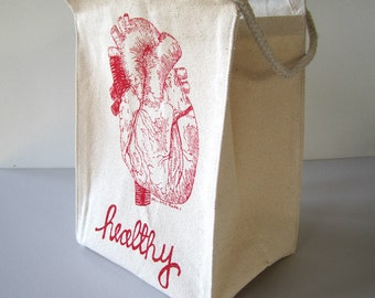 Reusable Lunch Bag - Screen Printed Recycled Cotton Lunch Box - Eco Friendly - Heart Healthy - Canvas Tote - Handmade Lunch Sack - Snack Bag