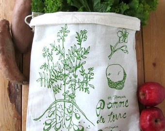 Reusable Produce Bags - Set of 2 - Screen Printed Natural Cotton Produce Bags - Eco Friendly - Botanical Potato - Bulk - Produce - Grocery