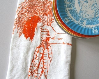 Tea Towel - Screen Printed Flour Sack Towel - Carrots - Eco Friendly - Botanical - Classic Flour Sack - All Natural Cotton - Kitchen Towel