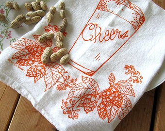 Tea Towel - Screen Printed Flour Sack Towel - Craft Brew - Absorbent Dish Towel - Eco Friendly Cotton - Classic Flour Sack - Kitchen Towel
