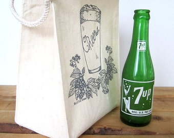 Reusable Lunch Bag - Screen Printed Recycled Cotton Lunch Bag - Eco Friendly Lunch Box - Lunch Sack - Craft Beer - Canvas Tote - Snack Bag