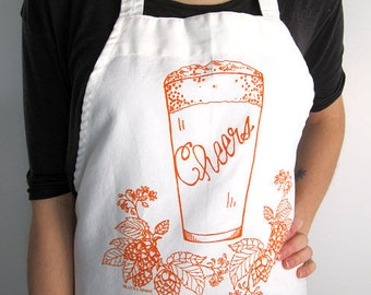 Screen Printed Apron - Natural Cotton Twill - Craft Brew Illustration - Beer Pint and Hops - Eco Friendly - Super Awesome Kitchen Apron