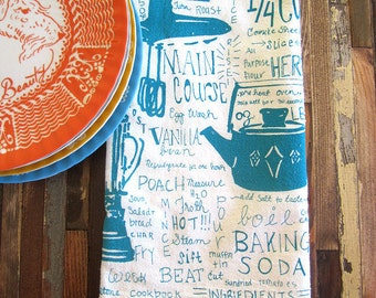 Screen Printed Tea Towel - Flour Sack Towel - Eco Friendly Kitchen Towel - Dish Towel - Tea Towel - Handmade - Eco Friendly Cotton Towel