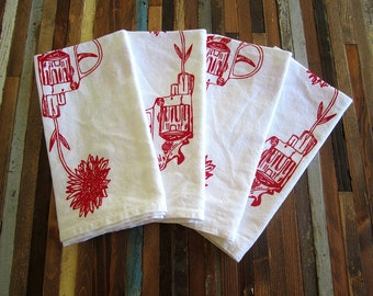 Cloth Napkins - Screen Printed Cloth Napkins - Eco Friendly Dinner Napkins - Revolver and Daisy - Love - Handmade - Cotton Cloth Napkins