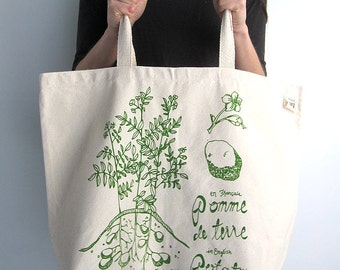 Recycled Cotton Tote Bag - Screen Printed Oversized Reusable Grocery Bag - Canvas Shopper Tote - Botanical Print - Potato Plant