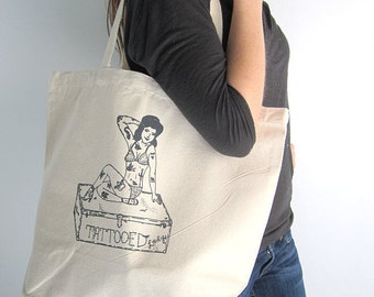 Canvas Tote Bag - Screen Printed Recycled Cotton Canvas Shopper Tote - Reusable and Washable - Eco Friendly - Tattooed Lady - Vintage Circus