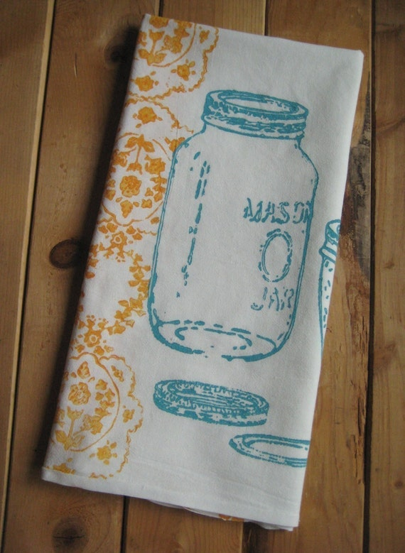 Block Printed Organic Cotton Mason Jar Towel