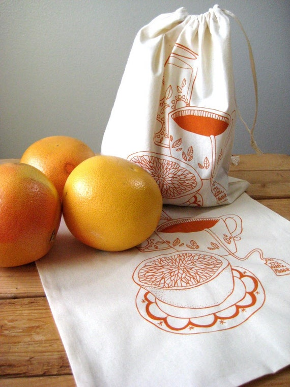 Set of 2 - Screen Printed Natural Cotton Breakfast Produce Bags - Eco Friendly - Reusable and Washable