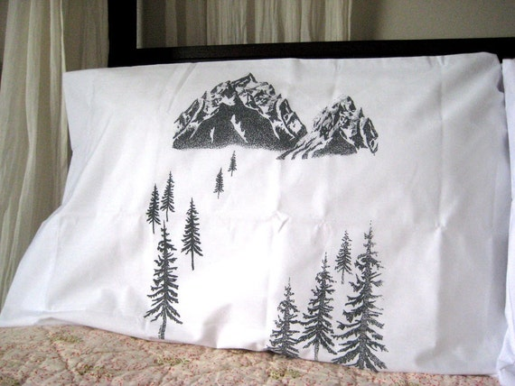 Pillow Cases - Screen Printed Scenic Mountain View Pillow Covers (set of 2 standard) - Eco Friendly Bedding