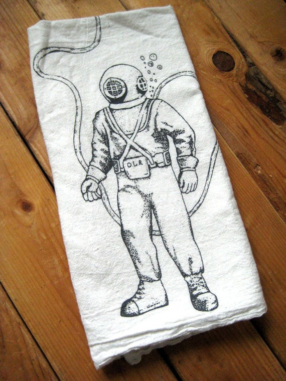Tea Towel - Screen Printed Organic Cotton Deep Sea Diver Flour Sack Towel - Eco Friendly Nautical Hand Towel