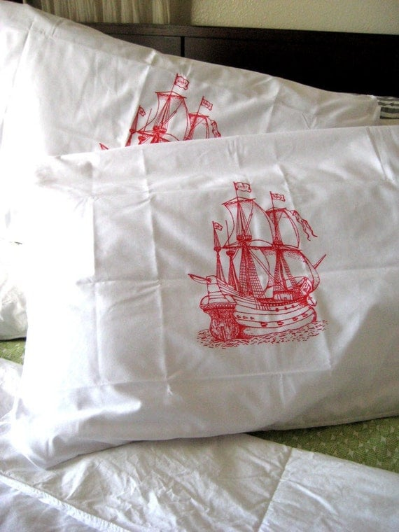 Screen Printed Nautical Pillow Cases - Set of 2 Standard Sized Pillow Covers - Eco Friendly Bedding