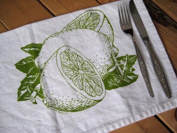 Screen Printed Organic Cotton Cloth Napkins - Eco Friendly Dinner Napkins - Citrus