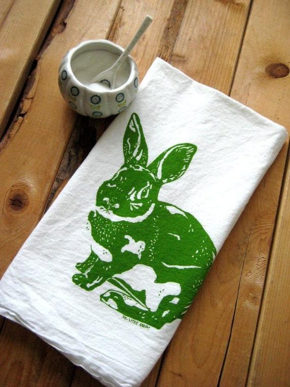 Screen Printed Organic Cotton Rabbit Flour Sack Tea Towel - Eco Friendly Kitchen Towel