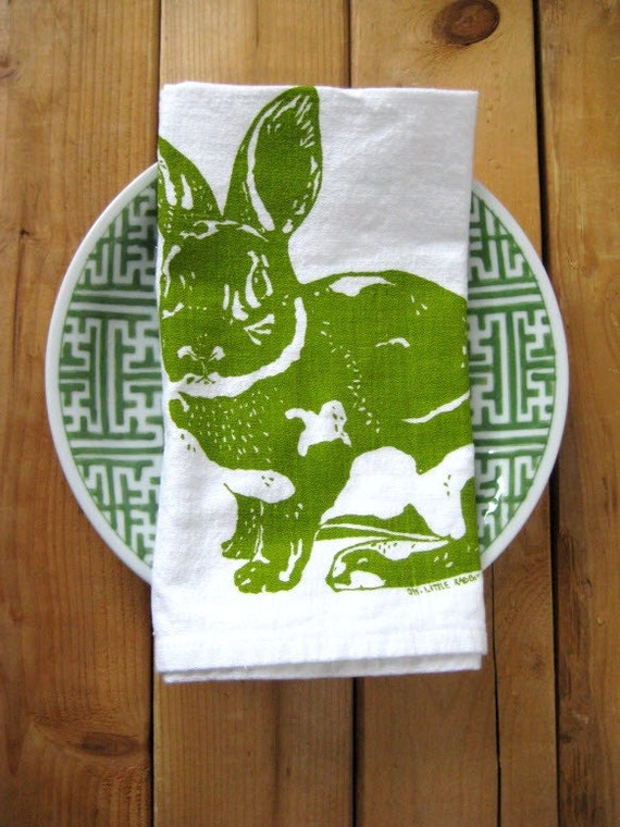 Screen Printed Organic Cotton Rabbit Cloth Napkins - Eco Friendly Dinner Napkins - Reusable and Washable