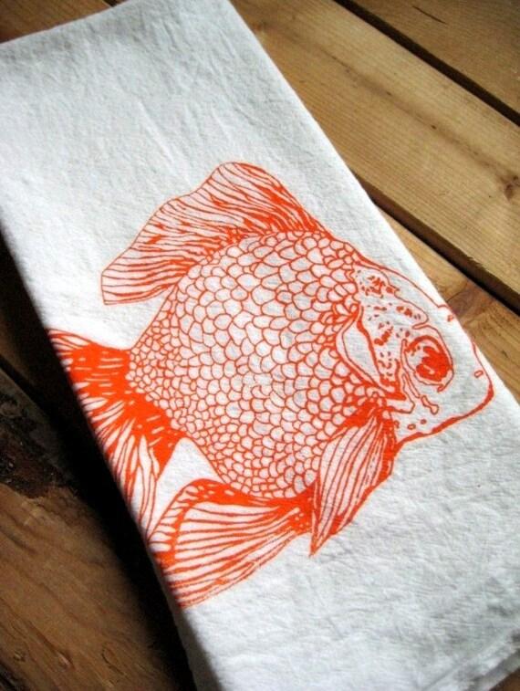 Screen Printed Organic Cotton Goldfish Flour Sack Tea Towel - Awesome Kitchen Towel for Dishes