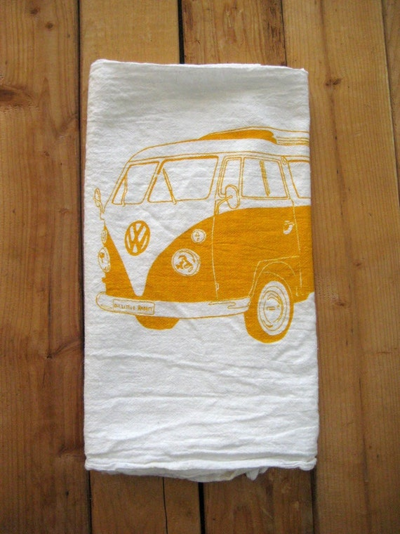 Screen Printed Organic Cotton VW Flour Sack Towel - Perfect Tea Towel for Dishes
